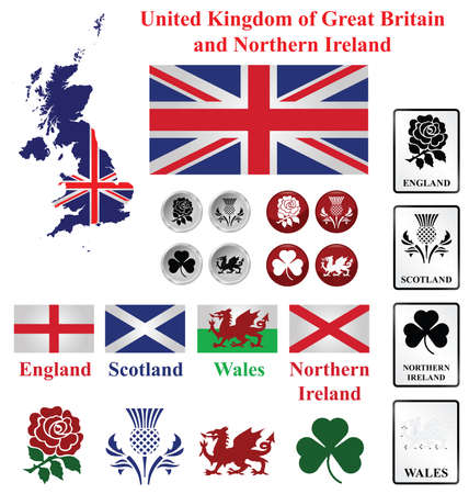 United Kingdom collection of map flags and national emblems of England Scotland Wales Northern Ireland isolated on white background Illustration