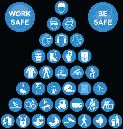 safety at work: Cyan construction manufacturing and engineering health and safety related pyramid icon collection isolated on black background with work safe be safe message