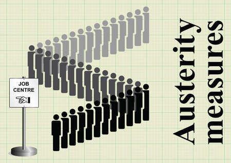 austerity: Government fiscal austerity measures and the resulting job losses on graph paper background