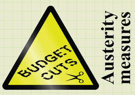 measures: Government fiscal austerity measures and budget cuts hazard warning sign on graph paper background