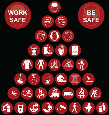 work safe: Red construction manufacturing and engineering health and safety related pyramid icon collection isolated on black background with work safe message