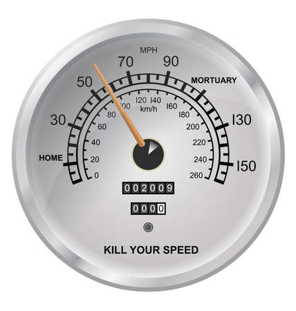 mileage: Kill your speed vehicle speedometer button isolated on white background Illustration