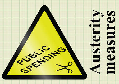 deficit: Government fiscal austerity measures and public spending cuts  hazard warning sign on graph paper background Illustration