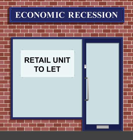 vacant: Vacant shop unit to let due to economic recession