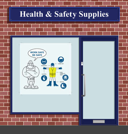 elementos de protecci�n personal: Construction health and safety personal protection equipment supplies shop Vectores