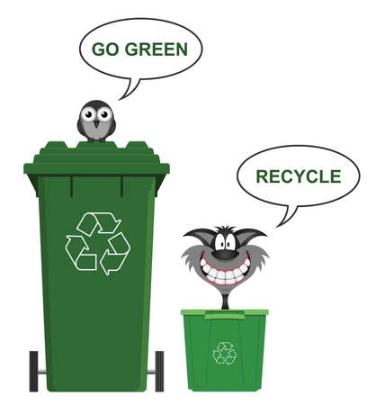 moggie: Go green recycle environmental message isolated on white background