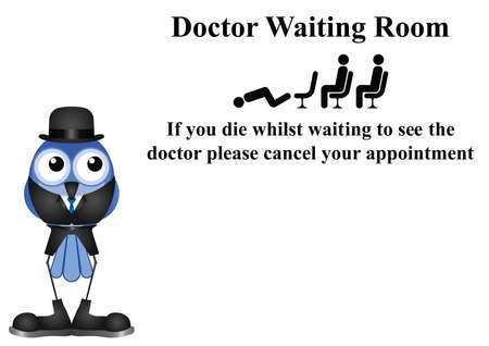 lifeless: Comical doctor waiting room sign on white background with copy space for own text