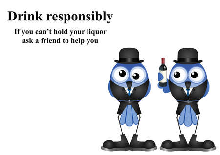 inebriated: Comical Drink responsibly message on white background with copy space for own text