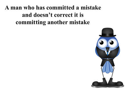 blunder: Man committing a mistake proverb on white background with copy space for own text