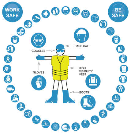 safety harness: Cyan construction manufacturing and engineering health and safety related circular icon collection isolated on white background with work safe message Illustration