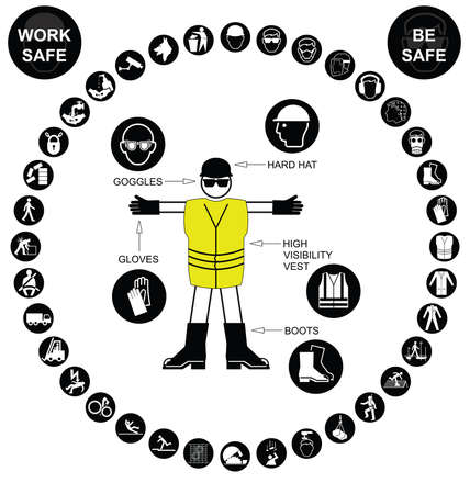 safety harness: Black construction manufacturing and engineering health and safety related circular icon collection isolated on white background with work safe message