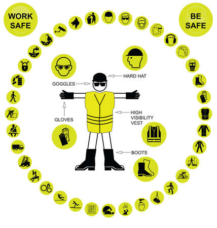 safety harness: Yellow construction manufacturing and engineering health and safety related circular icon collection isolated on white background with work safe message