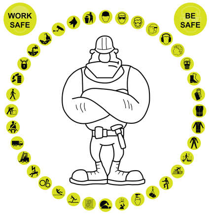 ppe: Yellow construction manufacturing and engineering health and safety related circular icon collection isolated on white background with work safe message