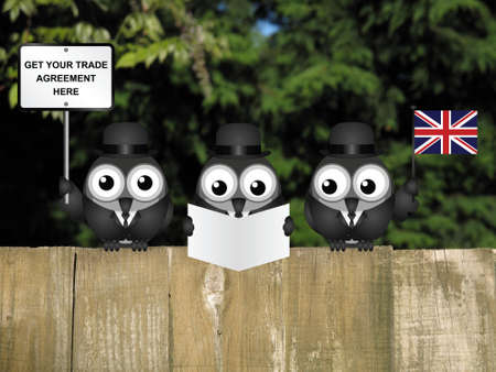 referendum: Comical United Kingdom government diplomatic trade delegation team advertising for new worldwide trade deals after exiting the European Union following the June 2016 referendum