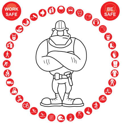 icon red: Red construction manufacturing and engineering health and safety related circular icon collection isolated on white background with work safe message Illustration