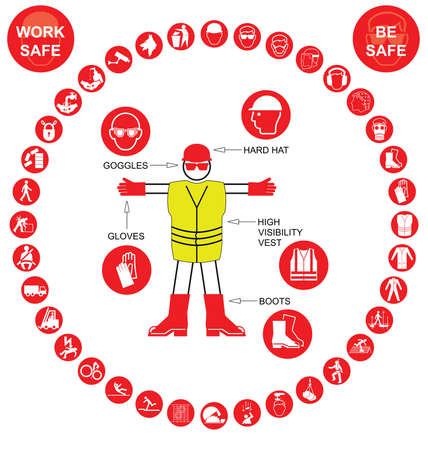 safety harness: Red construction manufacturing and engineering health and safety related circular icon collection isolated on white background with work safe message Illustration
