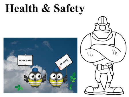 Industrial workers: Comical construction workers with work safe be safe message on white background