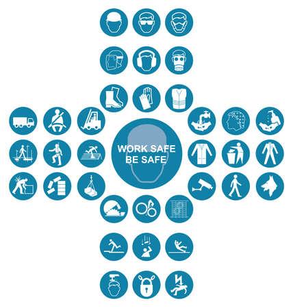 Blue Bau Fertigung und Engineering Gesundheit und Sicherheit im Zusammenhang cruciform Icon Sammlung isoliert auf weißem Hintergrund mit Arbeit sicher sicher sein Nachricht