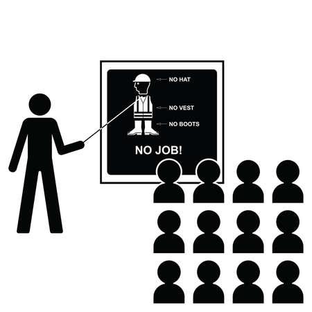 Rappresentazione della salute costruzione e seminari di sicurezza con le icone alle attuali British Standards sulla lavagna isolato su sfondo bianco con spazio di copia Vettoriali