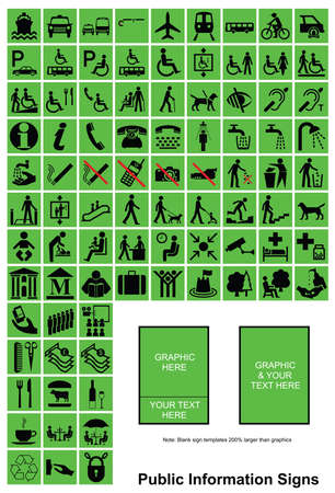 make public: Green make your own Public Information sign graphics with sample templates