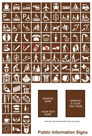 make public: Brown make your own Public Information signs with white graphics and sample templates Illustration