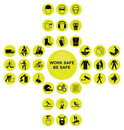 Construction et ingénierie de la construction jaune, sécurité et sécurité, cruciforme, icône, collection, isolé, blanc, fond, travail, coffre-fort, sécurité, message