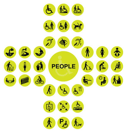 impaired: Yellow cruciform disability and people related icon collection isolated on white background