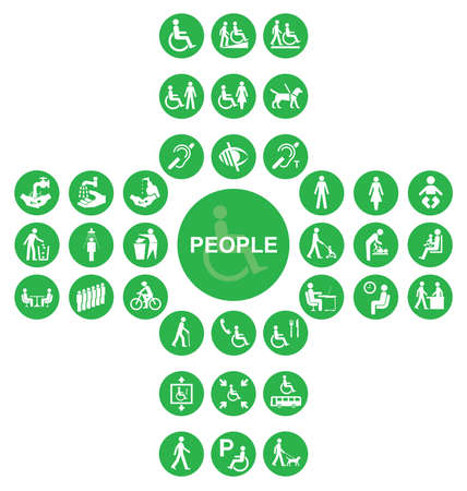 Green cruciform disability and people related icon collection isolated on white background Illustration