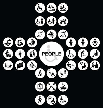impaired: White cruciform disability and people related icon collection isolated on black background
