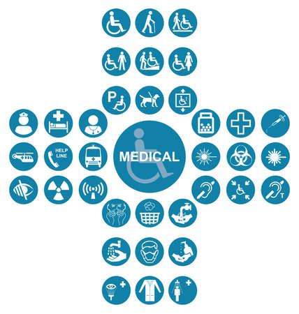 impairment: Blue cruciform Medical and health care related icon collection isolated on white background