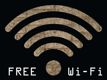 wlan: Free WIFI sign with old stonework wall visible through graphics on black background