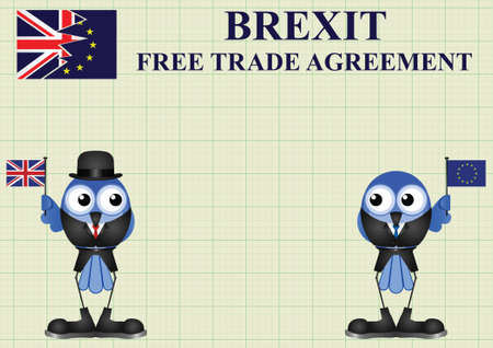 delegation: Comical United Kingdom government diplomatic trade delegation team advertising for new worldwide trade deals after exiting the European Union following the June 2016 referendum