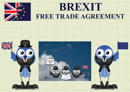 negotiator: Comical United Kingdom government diplomatic trade delegation team advertising for new worldwide trade deals after exiting the European Union following the June 2016 referendum