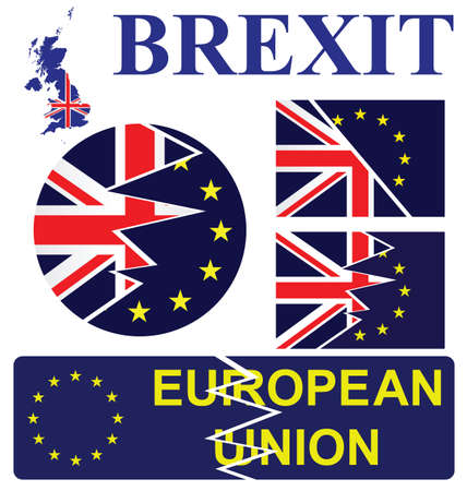 United Kingdom exit from European Union membership resulting from the June 2016 referendum sign collection isolated on white background