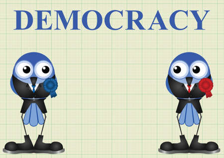 legislator: Left and right wing democratic politicians on graph paper background