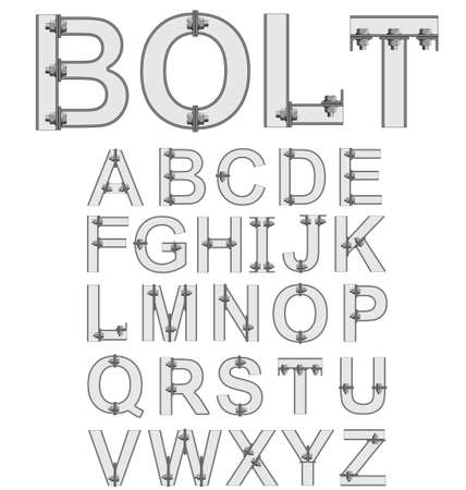 metal industry: Grey bolted metal alphabet font isolated on white background