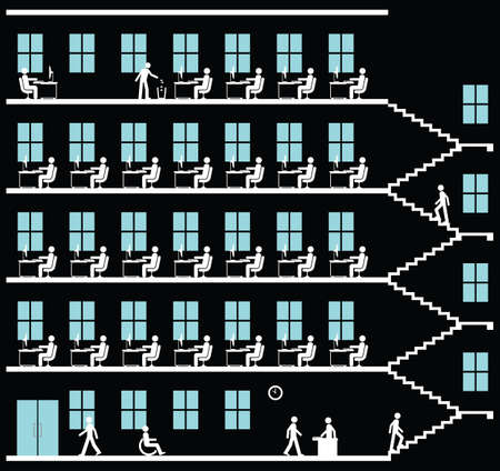 Monochrome representation of employees working at their desk in an office block on  black background Illustration