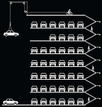 Representation of cars parked in a milti storey car park isolated on black background Stock Illustratie