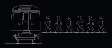 locomotion: Line drawing of commuters boarding a train to work isolated on black background Illustration