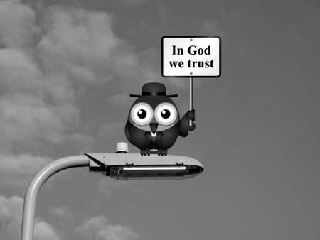 cleric: Comical bird vicar with In God We Trust sign sat on a lamp post against a sky background