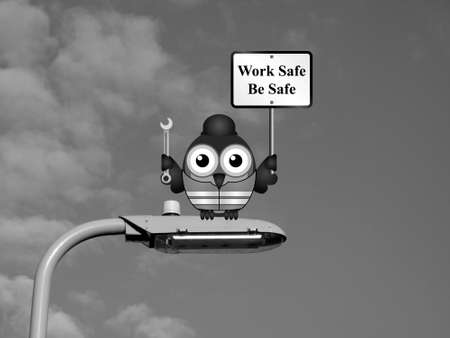 lamp post: Comical construction worker with health and safety work safe be safe sign sat on a lamp post against a sky background Stock Photo