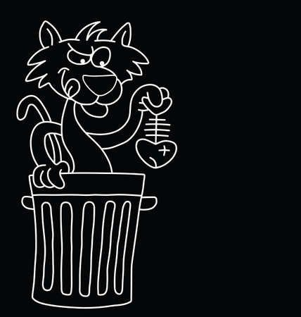 space rubbish: Monochrome cartoon cat with dinner isolated on black background with  copy space for own text