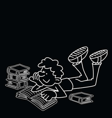 coursework: Monochrome outline cartoon boy reading isolated on black background  with copy space for own text Illustration
