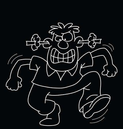 incensed: Monochrome outline cartoon angry man isolated on black background