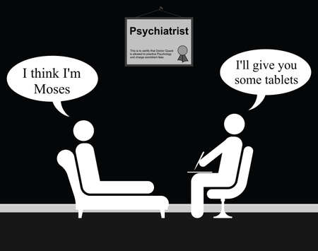 quack: Monochrome on the Psychiatrist couch with Doctor Quack and Moses