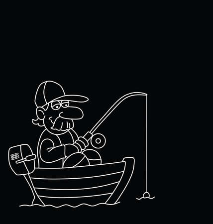 outboard: Monochrome outline cartoon fisherman in boat with copy space for own text  isolated on black background Illustration