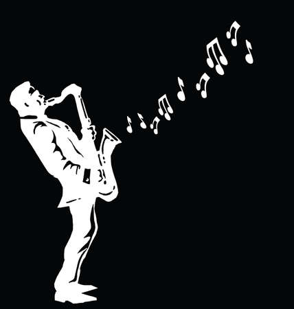Musician playing the saxophone isolated on black background with copy space for own text