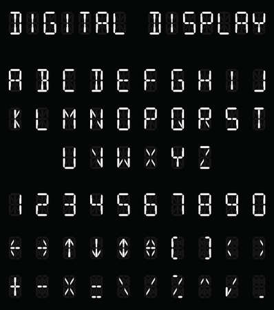 readout: Digital white alphabet and number set on black background