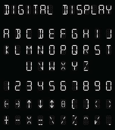 Digital white alphabet and number set on black background