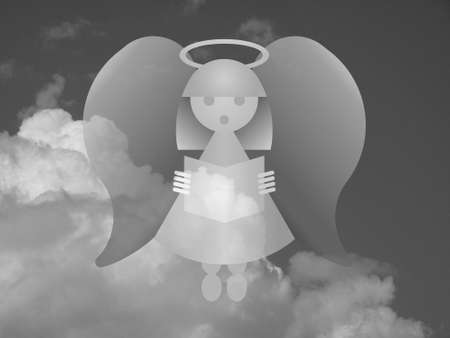 Monochrome representation of an angel against a cloudy sky